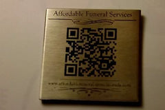 Digital Memorial Plaque with QR Code cremation urn casket headstone modern SILV