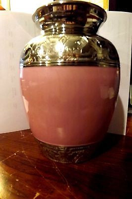 Baby Pink Enamel and Silver Color Cremation Urn - Medium will hold up to 100 pound pet