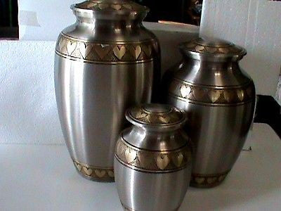 Adult cremation urn 4 pcs set Pewter with engraved hearts