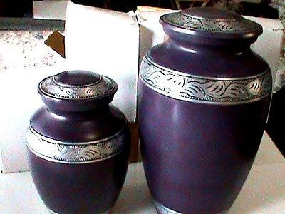 purple alloy Large Adult Cremation Urn adult 220 cubic and 70 cubic set