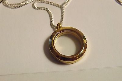 "Pet memorial urn locket Remembrance charm on gold tone 20"" chain"