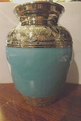 Baby blue Enamel and Silver Color Cremation Urn - Medium up to 100 pet