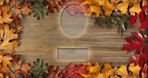 02 Autumn Leaves on Wood Memorial Candle with Photo