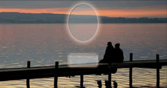 26 Couple on Pier Memorial Candle with Photo