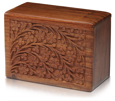 Hand-Carved Rosewood Urn Box - Large