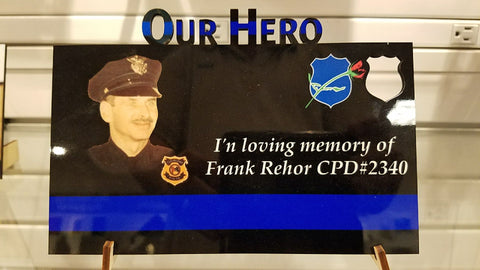 """Our Hero"" custom photo plaque ~ cutout"