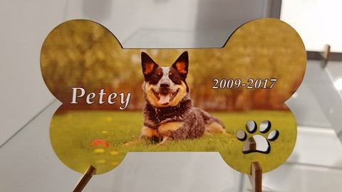 """Dog Bone"" custom pet photo plaque ~ cutout"