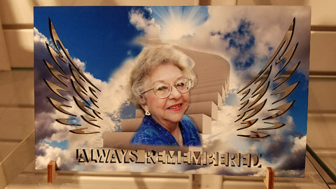 """Always Remembered"" custom photo plaque"