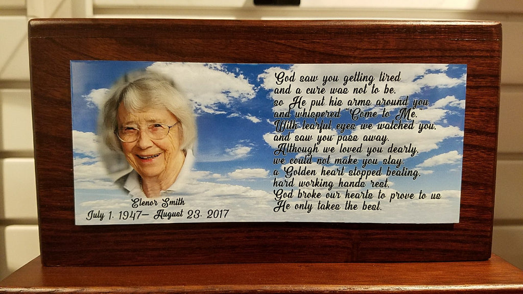 """Memorial on wood"" custom wood mounted photo plaque"