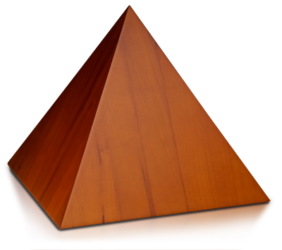 Pyramid Wooden Cremation Urn with Honey Finish - Adult