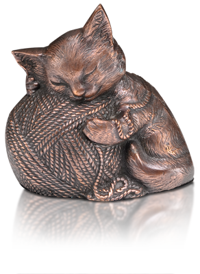 Sleeping Kitty Urn with Yarn Ball
