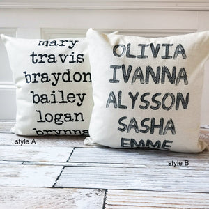 Farmhouse Name Pillow Covers | 2 Styles