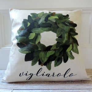 Personalized Wreath Pillow Covers