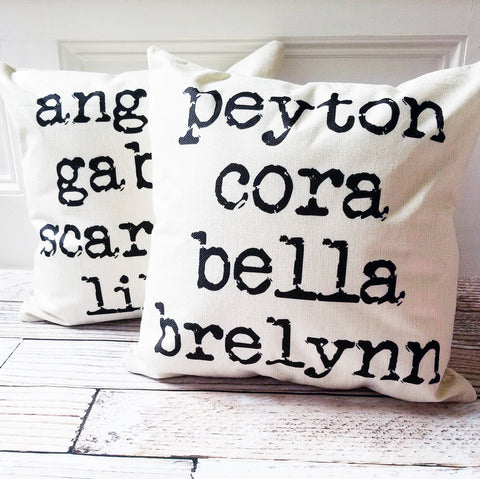 Centered Farmhouse Style Personalized Name Linen Pillow Covers