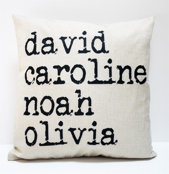 Farmhouse Style Personalized Name Linen Pillow Covers
