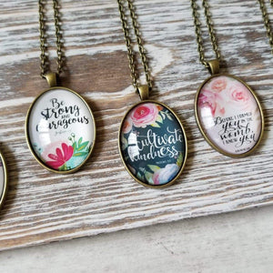 Oval Bible Verse Necklaces
