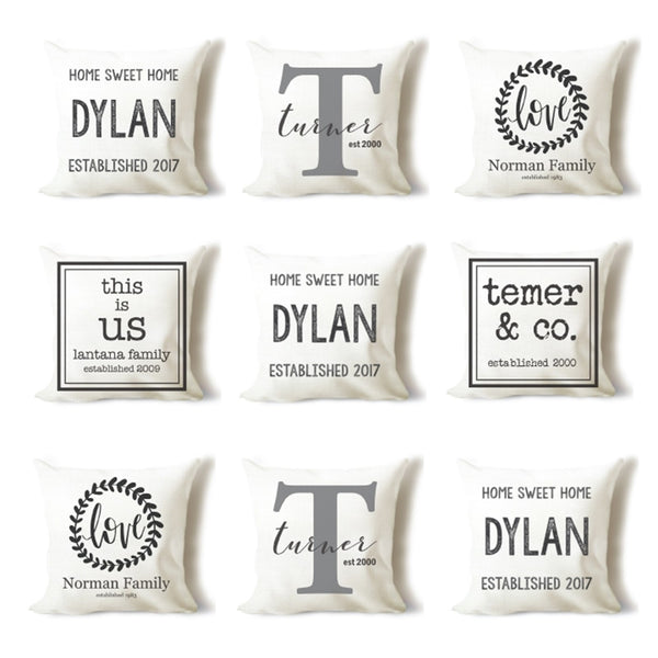 Custom Name and Date Linen Pillow Covers