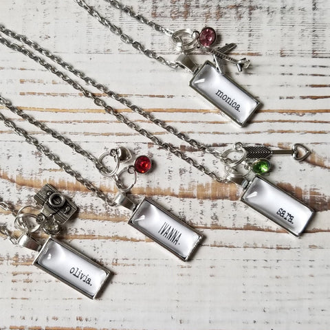 Personalized Birthstone Charm Necklaces
