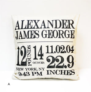 Personalized Birth Announcement Pillow Cover