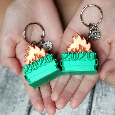 Personalized Dumpster Fire 2020 Keychains