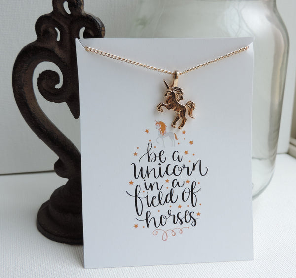 Be A Unicorn Inspirational Necklace & Card - BFF Sets!