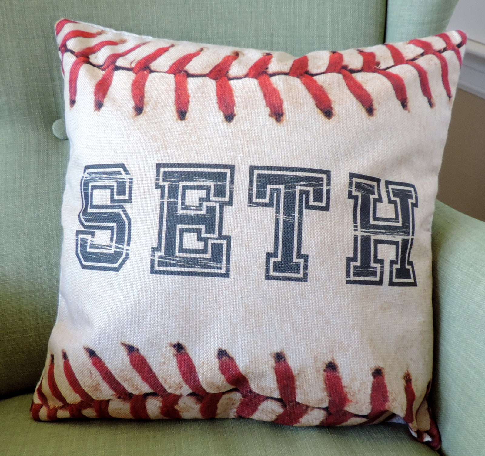Baseball / Softball Personalized Name Linen Pillow Covers