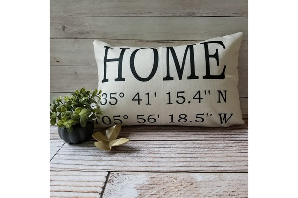 Personalized Farmhouse Style Latitude/Longitude Pillow Covers