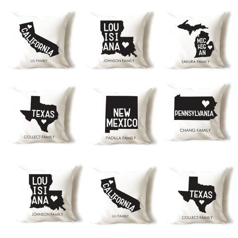 State Love Family Pillow Cover
