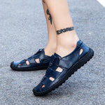 Men Cow Leather Hollow-Out Flat Heel Soft Soles Sandals