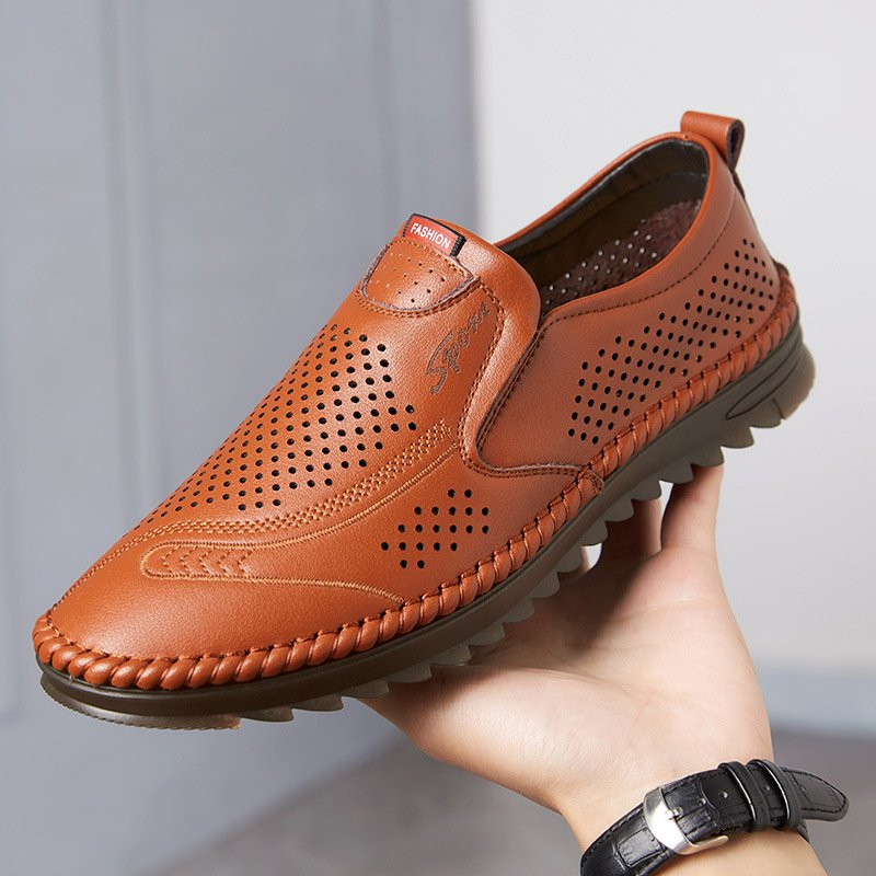 Men Breathable Hollow Business Casual Cow Leather Shoes
