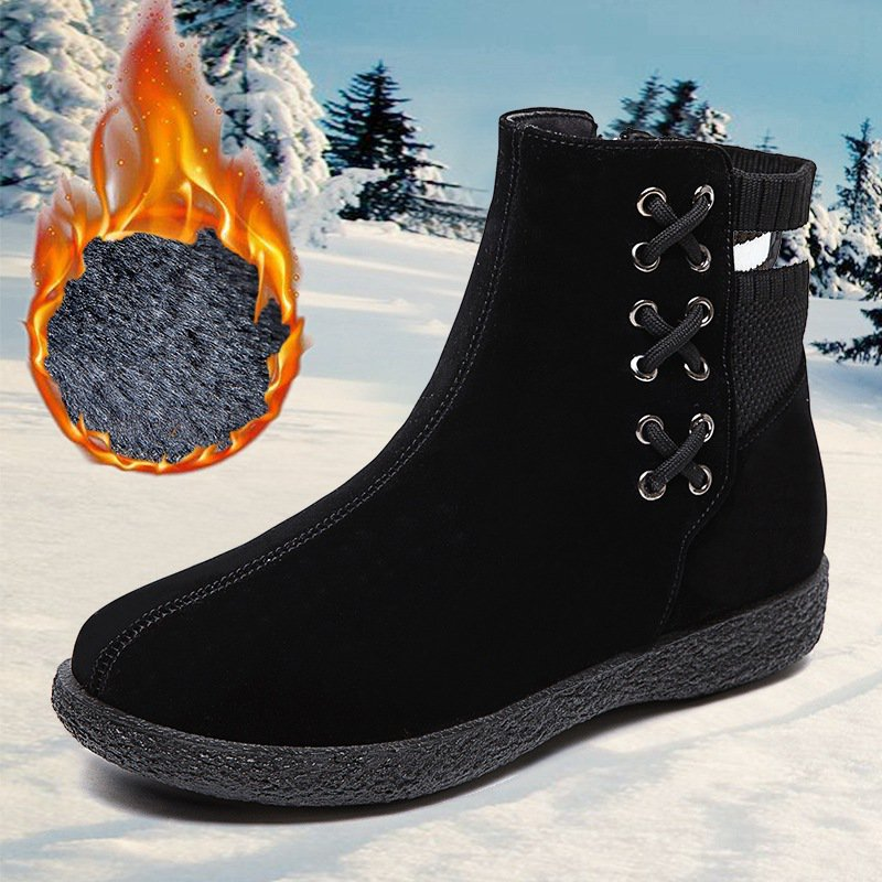 Winter Fur Lined Suede Zipper Daily Ankle Boots For Women