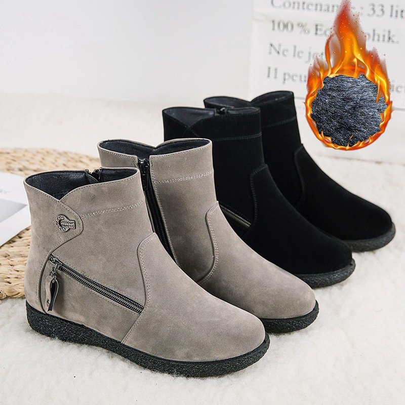 Winter Fur Lined Daily Zipper Suede Ankle Snow Boots For Women