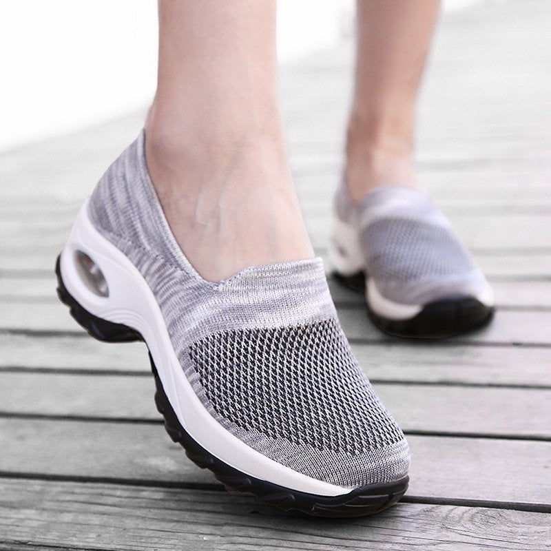 Women's Trendy Sports Breathable Fabric Sports Platform Sneakers