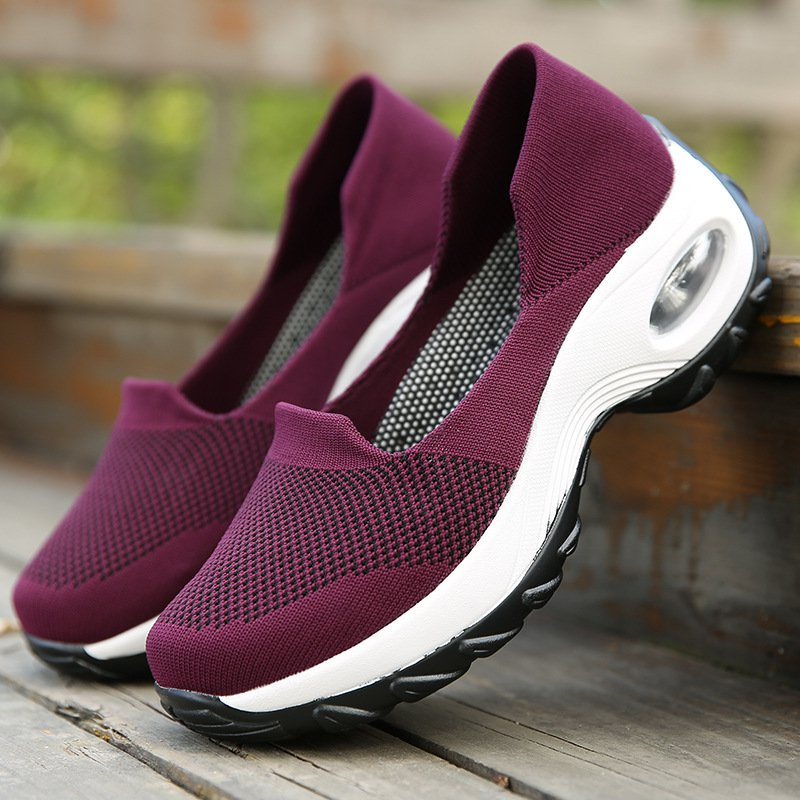 Women Air Cushion Flying Woven Breathable Non-slip Sneakers
