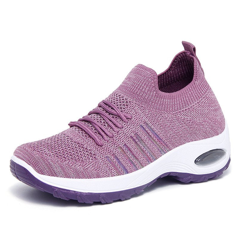 Athletic Breathable Flyknit Fabric Platform Sneakers For Women