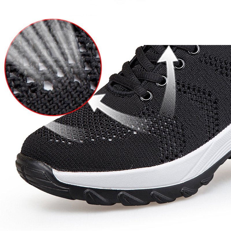 Women Breathable Flyknit Fabric Platform Air Cushion Sneakers