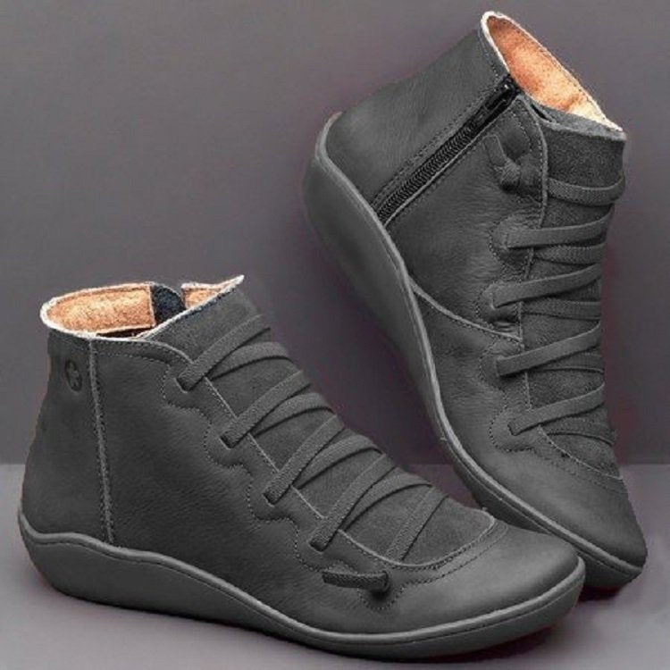 Women Vintage Leather Zip Flat Heel Ankle Boots