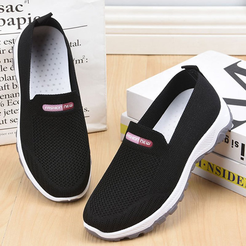 Women's Breathable Soft Sole Sports Sneakers Flying Knit Walking Shoes