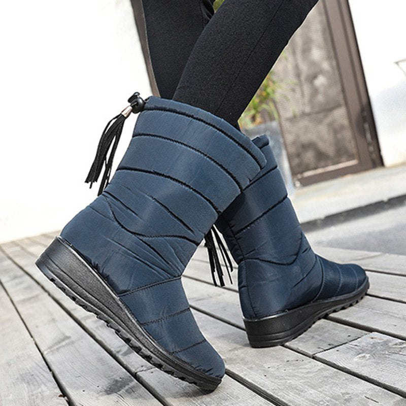 Outdoor Waterproof Back Elastic Band Mid Snow Boots For Women
