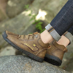 Men Handmaded Leather Casual Outdoor Lace Up Ankle Boots