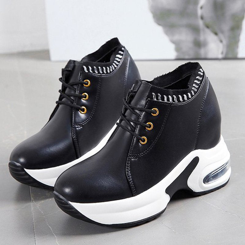 Women Leather Daily Lace Up Platform Air Cushion Sneakers