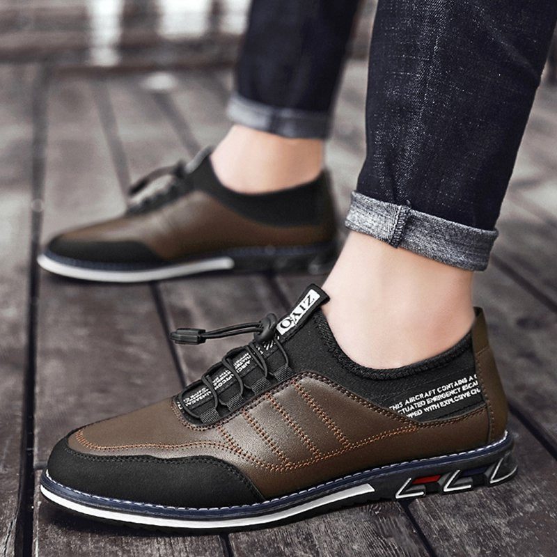 Men Leather Comfy Elastic Band Casual Outdoor Shoes