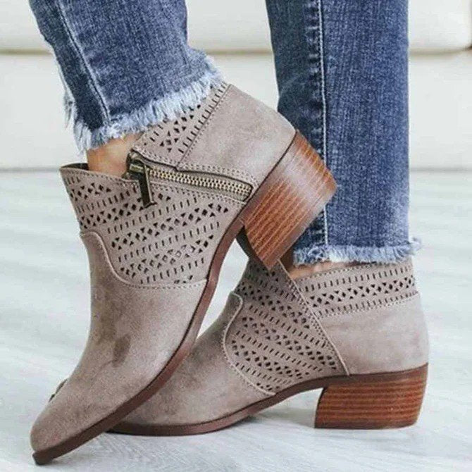 Block Heel Artificial Suede Zip Ankle Boots For Women