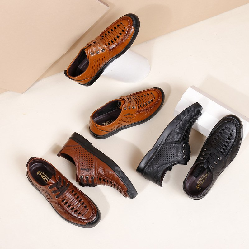Men's Comfy Leather Business Breathable Hollow out Shoes