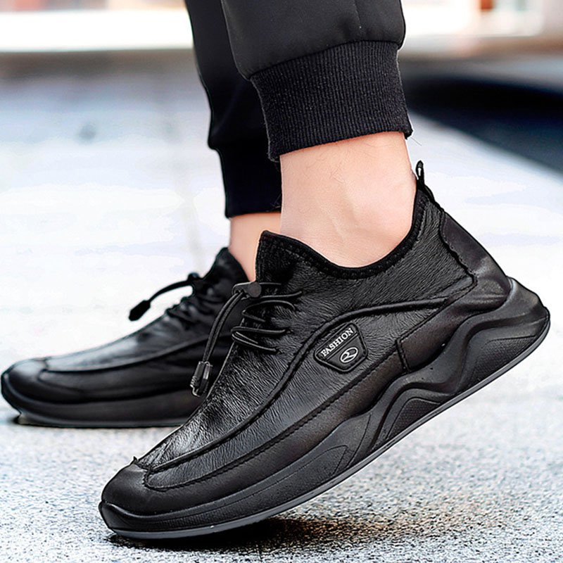 Men Comfy Leatherette Elastic Band Casual Shoes