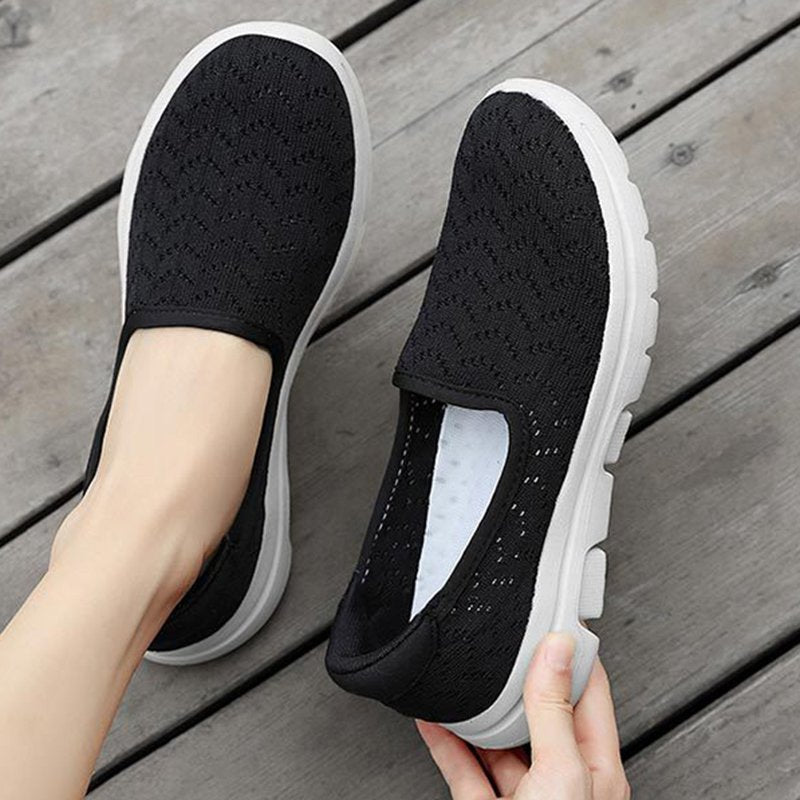 Women Athletic Breathable Hollow Fabric Daily Flat Boat Sneakers