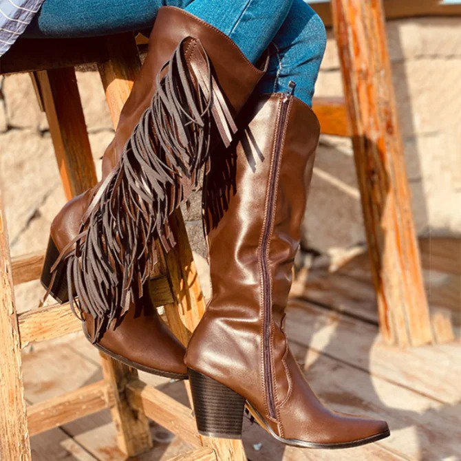 Vintage Tassel Leatherette Chunky Heel Knee Boots For Women