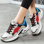 Women Athletic Color Block Lace Up Platform Sneakers Hiking Shoes