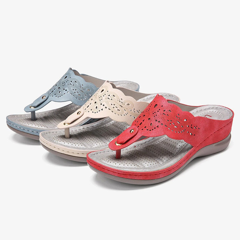 Women Flip Flops Holiday Leather Hollow-Out Footbed Slippers
