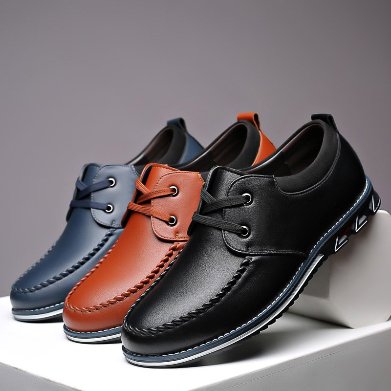 Men's Soft-soled Fashion Lace Up Microfiber Leather Shoes
